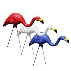 Bloem Red White & Blue American Mingo 3-Piece Flamingo Yard Stakes
