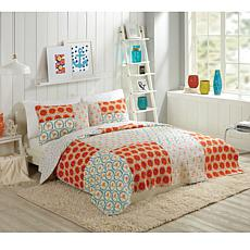Bouffants and Broken Hearts Flamingo Citrus 2pc Quilt Set - Twin