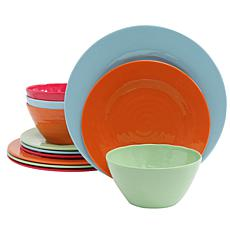 Brist 12 pc Dinnerware Set - 4 Assorted Colors - Solid - Melamine -...