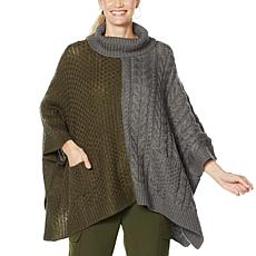 Brittany Humble Two-Tone Cable Knit Sweater Poncho