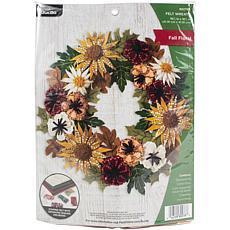 "Bucilla Felt 16"" Wreath Applique Kit, Round-Floral Fall"