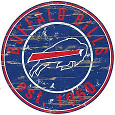 Buffalo Bills Round Distressed Sign