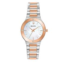Bulova 2-Tone Women's Mother-of-Pearl Diamond-Accent Bracelet Watch