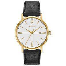"Bulova ""Aerojet"" Goldtone Stainless Men's Black Leather Strap Watch"