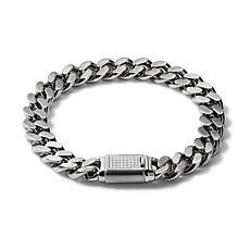 "Bulova Classic Men's 0.15ctw Diamond Clasp Chain-Link Bracelet - 8"""