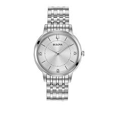 Bulova Diamond Marker Silvertone Bracelet Watch