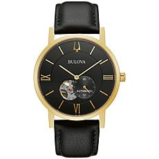 Bulova Goldtone Men's Black Leather Strap Automatic Watch
