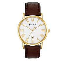 Bulova Goldtone Men's Brown Leather White Dial Watch