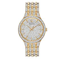 Bulova  Goldtone Stainless Steel Men's Round Pavé Bracelet Watch