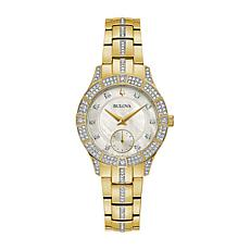Bulova Goldtone Stainless Steel Women's Crystal Bracelet Watch