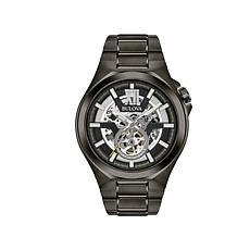 Bulova Gunmetal-Tone Automatic Skeleton Watch
