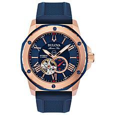 "Bulova ""Marine Star"" Rosetone Men's Blue Silicone Strap Watch"