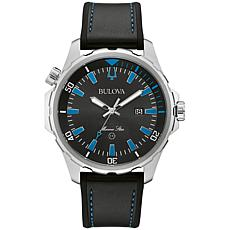 "Bulova ""Marine Star"" Stainless Steel Men's Black Silicone Strap Watch"
