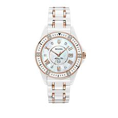 "Bulova ""Marine Star"" White Ceramic Bracelet Watch"