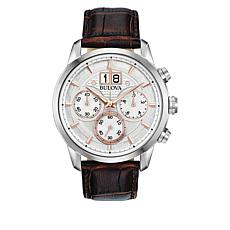 Bulova Men's 2-Tone Dial Leather Strap Chronograph Watch