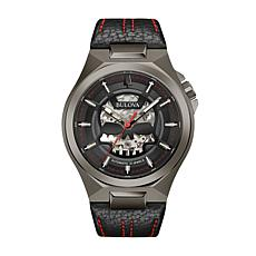 Bulova Men's Black/Gray Automatic Black Leather Strap Watch