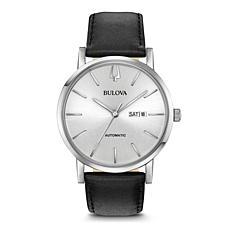 Bulova Men's Classic Automatic Watch, Black Leather Strap