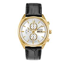 Bulova Men's Goldtone Stainless  Black Leather Strap Chronograph Watch