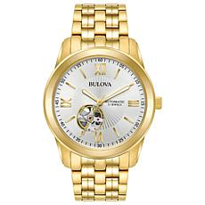 Bulova Men's Goldtone Stainless Steel White Dial Automatic Watch
