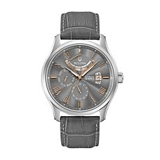 Bulova Men's Gray Dial Automatic Leather Strap Watch