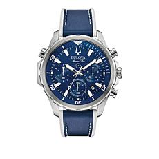Bulova Men's Marine Star Blue Leather Silvertone Chronograph Watch