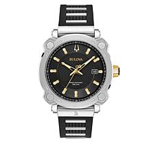 "Bulova Men's ""Precisionist"" GRAMMY® Edition Black Rubber Strap Watch"