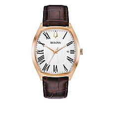 Bulova Men's Rosetone Stainless Steel Brown Leather Strap Watch