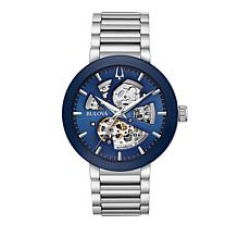 Bulova Men's Stainless Steel Blue Dial Automatic Bracelet Watch