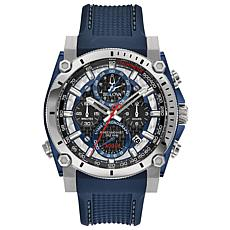 "Bulova ""Precisionist"" Silvertone Men's Blue Strap Chronograph Watch"