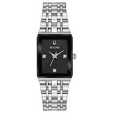 """Bulova """"Quadra"""" Stainless Steel Women's Diamond Bracelet Watch"""