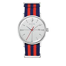 Bulova Silvertone Men's Red and Blue Nylon Strap Date Window Watch