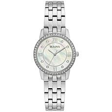 Bulova Stainless Steel Women's Crystal  Watch and Heart Necklace Set