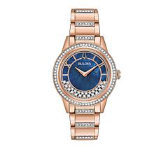 "Bulova ""TurnStyle"" Rosetone Stainless Floating Crystal Watch"