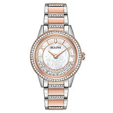"""Bulova """"TurnStyle"""" Two-Tone Stainless Women's Floating Crystal Watch"""