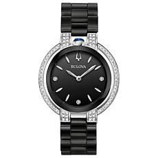 Bulova Women's Rubaiyat Diamond Black Ceramic Bracelet Watch