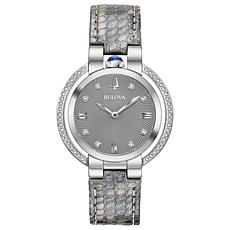 Bulova Women's Rubaiyat Diamond Gray Leather Strap Watch
