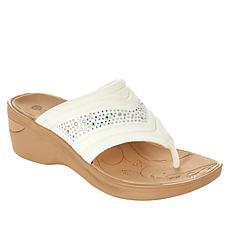 Bzees Dazzle Me Washable Thong Wedge Sandal