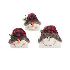 C&F Home Buffalo Check Snowmen Set of 3
