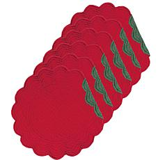C&F Home Red and Green Quilted Round Reversible Placemat Set of 6