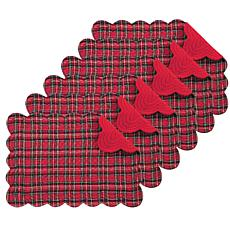 C&F Home Red Plaid Cotton Quilted Oblong Placemat Set of 6