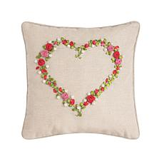 C&F Home Rose Heart Ribbon Art Pillow