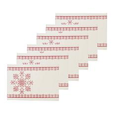 C&F Home Snowflake Cotton Cross Stitch Placemat Set of 6