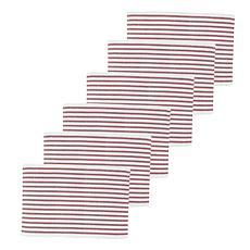 C&F Home Ticking Stripe Crimson Placemat Set of 6