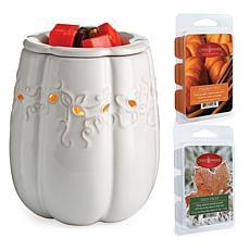 Candle Warmers White Pumpkin Wax Warmer with 2-pack 2.5oz. Wax Melts