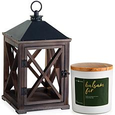 Candle Warmers Wooden Lantern Candle Warmer and Balsam Fir Candle