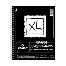 """Canson XL Black Drawing Pad 9"""" x 12"""" 40 Sheets, Side Wire"""