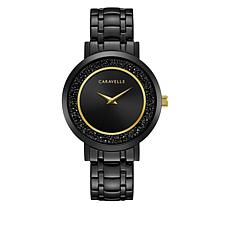 Caravelle Black Crystal Goldtone-Accented Watch