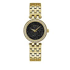 Caravelle Black Multi Crystal Dial Goldtone Bracelet Watch