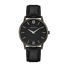 Caravelle by Bulova Men's Black Leather Strap Watch