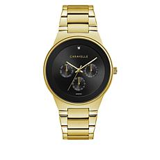 Caravelle Goldtone Diamond Accent Black Dial Subdial Bracelet Watch